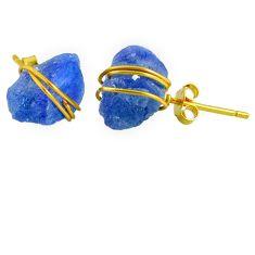 10.50cts natural blue tanzanite raw 14k gold handmade stud earrings r79755
