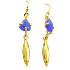 7.66cts natural blue tanzanite rough 14k gold handmade dangle earrings t29781