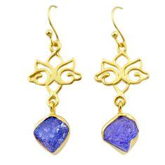 8.87cts natural blue tanzanite rough 14k gold handmade dangle earrings t29787