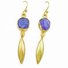 8.95cts natural blue tanzanite rough 14k gold handmade dangle earrings t29789