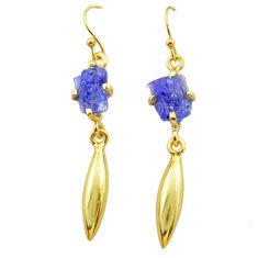 6.73cts natural blue tanzanite raw 14k gold handmade dangle earrings t29801