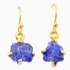 5.10cts natural blue tanzanite raw 14k gold handmade dangle earrings t29822