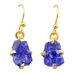 5.07cts natural blue tanzanite raw 14k gold handmade dangle earrings t29825