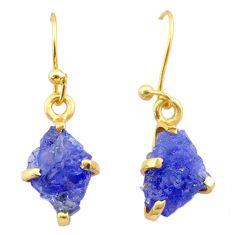 5.10cts natural blue tanzanite raw 14k gold handmade dangle earrings t29826