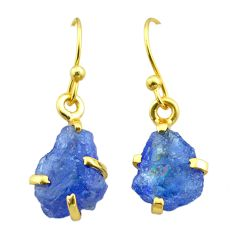 5.68cts natural blue tanzanite raw 925 silver 14k gold earrings jewelry t51181