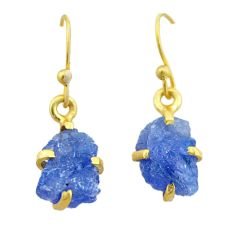 6.94cts natural blue tanzanite raw 925 silver 14k gold earrings jewelry t51182