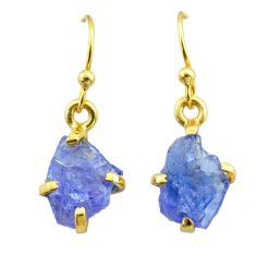 5.29cts natural blue tanzanite raw 925 silver 14k gold earrings jewelry t51185