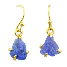 5.85cts natural blue tanzanite raw 925 silver 14k gold earrings jewelry t51187