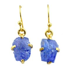 6.33cts natural blue tanzanite raw 925 silver 14k gold earrings jewelry t51189