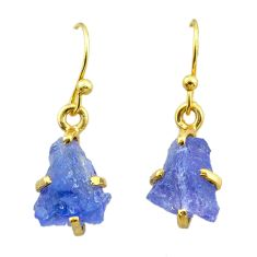 6.27cts natural blue tanzanite raw 925 silver 14k gold earrings jewelry t51190