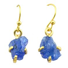 6.41cts natural blue tanzanite raw 925 silver 14k gold earrings jewelry t51191