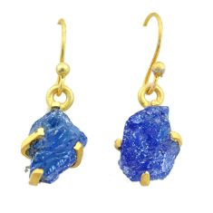 6.97cts natural blue tanzanite raw 925 silver 14k gold earrings jewelry t51193