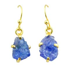 6.94cts natural blue tanzanite raw 925 silver 14k gold earrings jewelry t51197