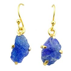 7.31cts natural blue tanzanite raw 925 silver 14k gold earrings jewelry t51198
