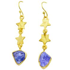 9.37cts natural blue tanzanite rough 925 silver 14k gold star earrings t29796
