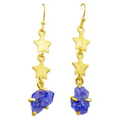 7.66cts natural blue tanzanite rough 925 silver 14k gold star earrings t29797
