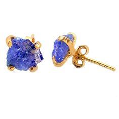 5.12cts natural blue tanzanite raw 14k gold handmade stud earrings t29857
