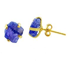 6.55cts natural blue tanzanite raw 14k gold handmade stud earrings t29863
