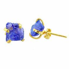 6.58cts natural blue tanzanite raw 14k gold handmade stud earrings t29867