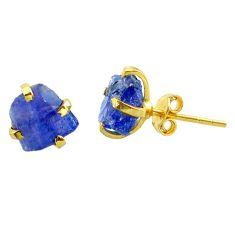 6.06cts natural blue tanzanite raw 14k gold handmade stud earrings t29873