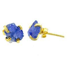 5.10cts natural blue tanzanite raw 14k gold handmade stud earrings t29876