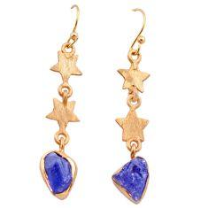 8.56cts natural blue tanzanite raw 14k rose gold handmade earrings t29812