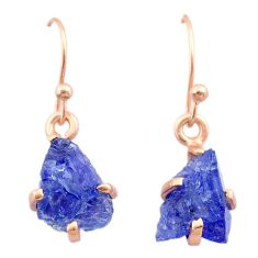 6.20cts natural blue tanzanite raw 14k rose gold handmade earrings t29827
