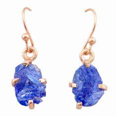 5.60cts natural blue tanzanite raw 14k rose gold handmade earrings t29831