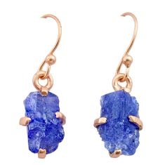 6.70cts natural blue tanzanite raw 14k rose gold handmade earrings t29833