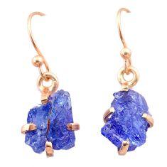 5.67cts natural blue tanzanite raw 14k rose gold handmade earrings t29835