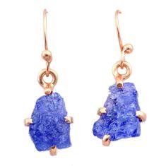 6.23cts natural blue tanzanite raw 14k rose gold handmade earrings t29837