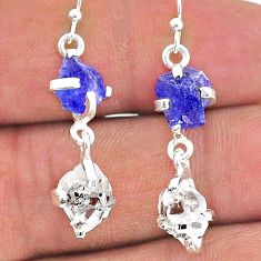 10.41cts natural blue tanzanite raw 925 silver dangle earrings jewelry t15307