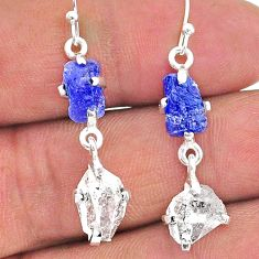 10.70cts natural blue tanzanite raw 925 silver dangle earrings jewelry t15310