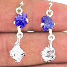 10.03cts natural blue tanzanite raw 925 silver dangle earrings t15302
