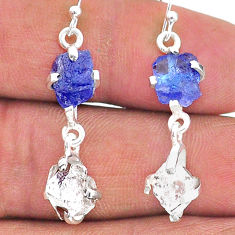 10.35cts natural blue tanzanite raw 925 silver dangle earrings t15309