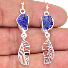 9.26cts natural blue tanzanite raw 925 silver deltoid leaf earrings t17197