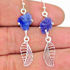 8.03cts natural blue tanzanite raw 925 silver deltoid leaf earrings t17249