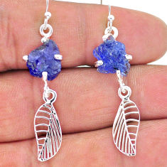 8.87cts natural blue tanzanite raw 925 silver deltoid leaf earrings t17254