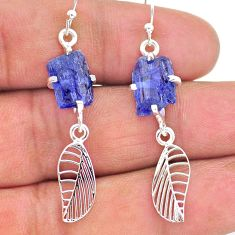 8.12cts natural blue tanzanite raw 925 silver deltoid leaf earrings t17257