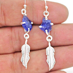 8.56cts natural blue tanzanite raw 925 silver feather charm earrings t17266