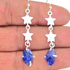 7.17cts natural blue tanzanite raw 925 silver star charm earrings t17244