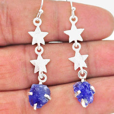 8.12cts natural blue tanzanite raw 925 silver star charm earrings t17247