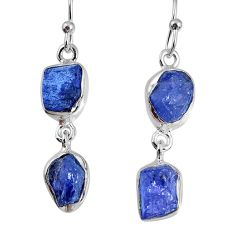 12.05cts natural blue tanzanite rough 925 sterling silver dangle earrings r60078
