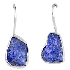 11.57cts natural blue tanzanite rough 925 sterling silver dangle earrings r62101