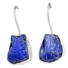 13.48cts natural blue tanzanite rough 925 sterling silver dangle earrings r62104