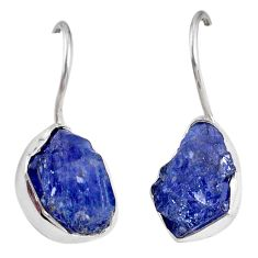 12.60cts natural blue tanzanite rough 925 sterling silver dangle earrings r62109