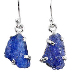 10.67cts natural blue tanzanite rough 925 sterling silver dangle earrings r62112