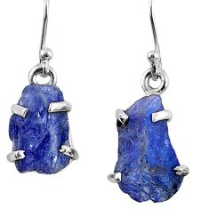 10.65cts natural blue tanzanite rough 925 sterling silver dangle earrings r62117