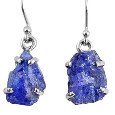 11.57cts natural blue tanzanite rough 925 sterling silver dangle earrings r62119