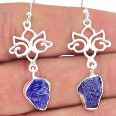 9.37cts natural blue tanzanite raw 925 sterling silver dangle earrings t17210